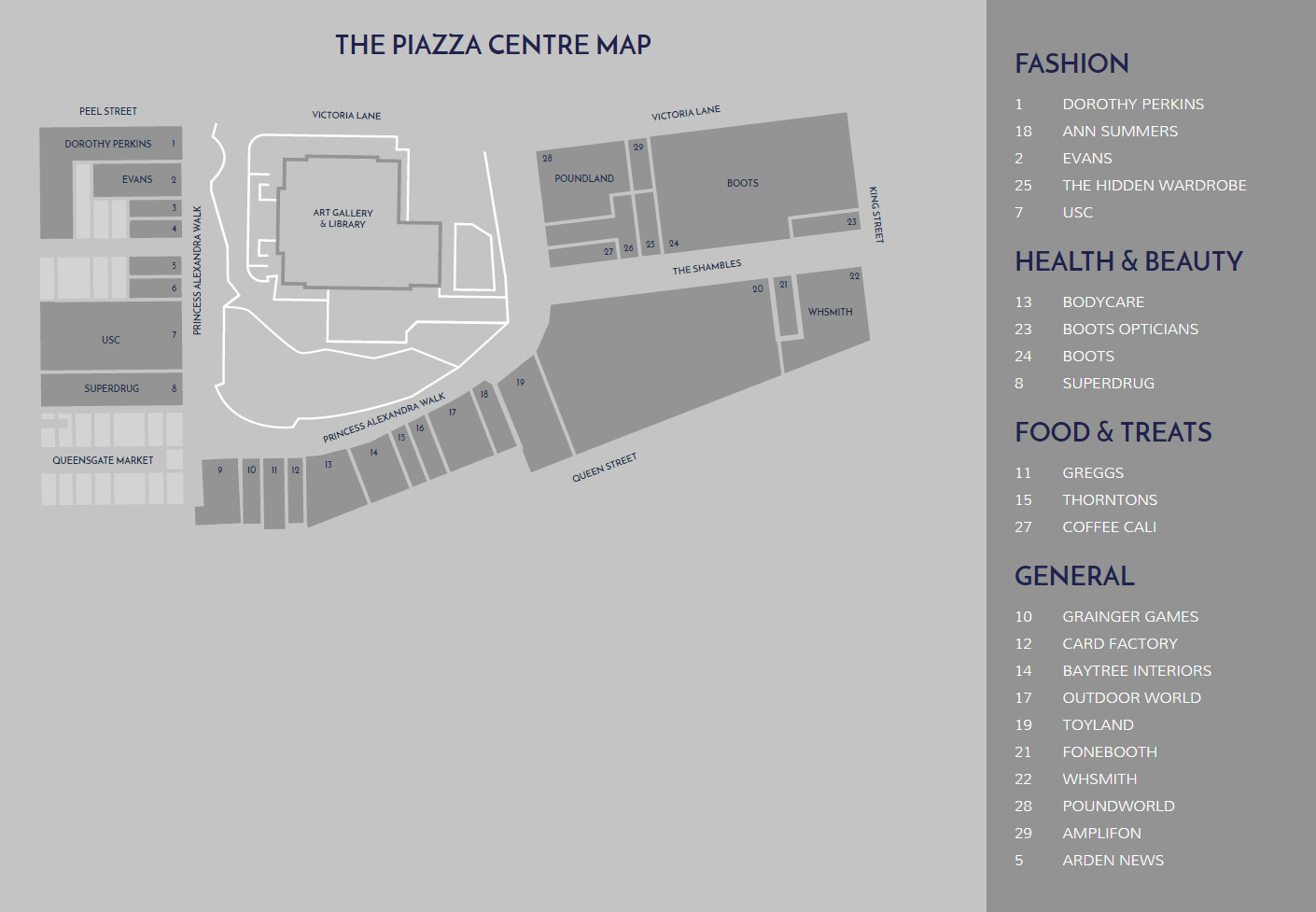 Piazza Centre Store Layout